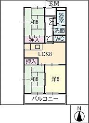 エスポワール中嶋北棟[2階]の間取り