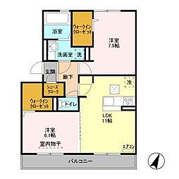 仮)D−roomセントラルパークA[202号室]の間取り
