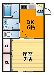 小田急小田原線 本厚木駅 バス17分 荻野新宿下車 徒歩5分の賃貸アパート 1階1DKの間取り