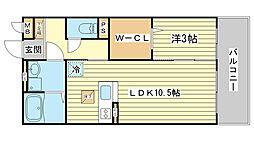 セジュール東阿保[A207号室]の間取り