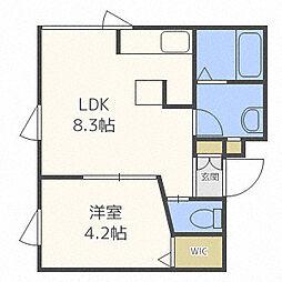 ラ・テラス 2階1DKの間取り