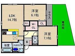 仮称)D-room桑田町[1階]の間取り