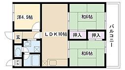 ロイヤルマンション橋本[402号室]の間取り