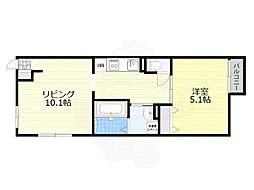 JR阪和線 堺市駅 徒歩6分の賃貸マンション 1階1LDKの間取り