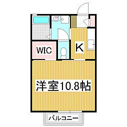 Palace O-Bell's A棟 1階1Kの間取り
