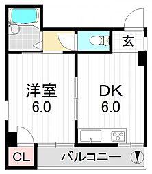 ベルコート瓜破I[4階]の間取り