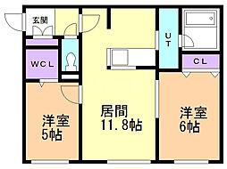 Terrace fino(テラスフィーノ) 5階2LDKの間取り