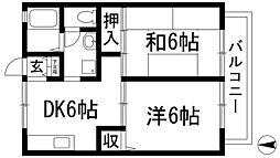 兵庫県川西市絹延町の賃貸アパートの間取り