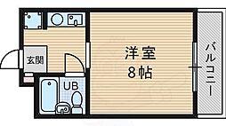 阪急千里線 千里山駅 徒歩14分の賃貸マンション 1階1Kの間取り