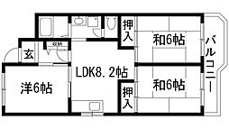 安倉団地(住宅供給公社賃貸物件)[1階]の間取り