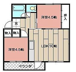 牧山アパート[404号室]の間取り