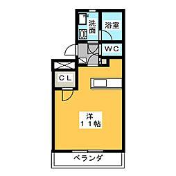 M・hazama 2階ワンルームの間取り