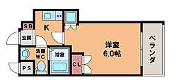 ブリリアントコート西田辺 2階1Kの間取り