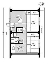 ビレッジハウス草部1号棟1階Fの間取り画像