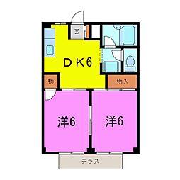 大府市 コーポ吉田A[0102号室]の間取り