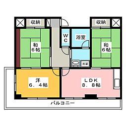 サングリートハイツ[8階]の間取り