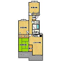 フェアリークリスタル宮本[3階]の間取り