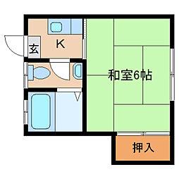 奈良県奈良市西大寺新町1丁目の賃貸アパートの間取り