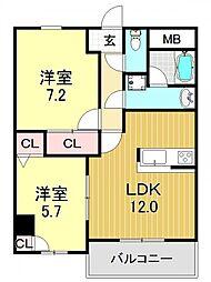 ラ・カーユ[3O3号室号室]の間取り