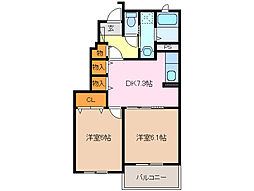 三重県鈴鹿市若松東1丁目の賃貸アパートの間取り