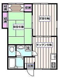 矢沢ハイツ[1階]の間取り