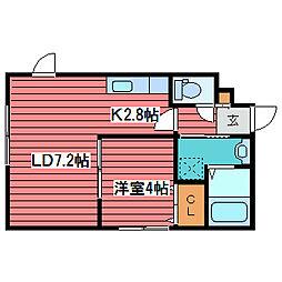 HOPE月寒中央 B棟[1階]の間取り