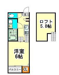 名古屋市営上飯田線 上飯田駅 徒歩3分の賃貸アパート 1階1SKの間取り
