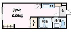広島電鉄6系統 舟入南駅 徒歩10分の賃貸アパート 1階ワンルームの間取り