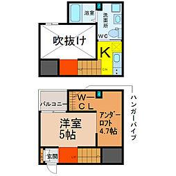愛知県名古屋市港区川西通3丁目の賃貸アパートの間取り