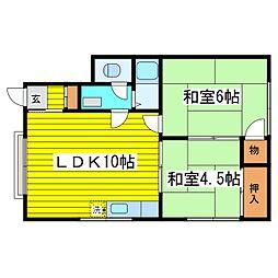北海道札幌市東区北十九条東3丁目の賃貸アパートの間取り