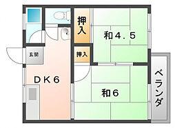 川口ハイツ[2階]の間取り