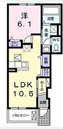 JR赤穂線 西大寺駅 3.3kmの賃貸アパート 1階1LDKの間取り