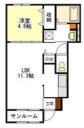 ルフレエトワールII[1階]の間取り