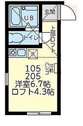 神奈川県横浜市鶴見区矢向6丁目の賃貸アパートの間取り