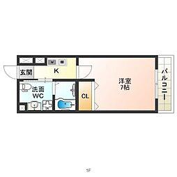 JR関西本線 東部市場前駅 徒歩8分の賃貸マンション 8階1Kの間取り
