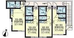 神奈川県横須賀市船越町1丁目の賃貸アパートの間取り