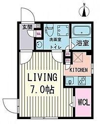 Branche高田馬場 2階ワンルームの間取り