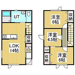 啓北町新築メゾネットアパート[A号室]の間取り