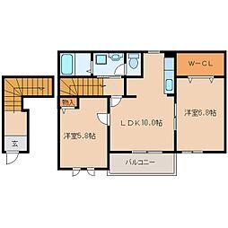 JR桜井線 三輪駅 徒歩10分の賃貸アパート 2階2LDKの間取り