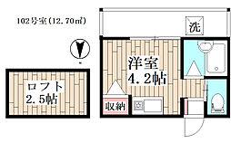 ソレイユ武蔵小金井 1階ワンルームの間取り
