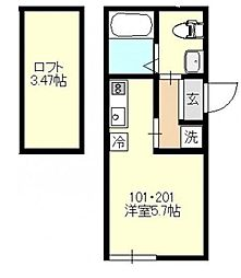 神奈川県横浜市南区南太田2丁目の賃貸アパートの間取り