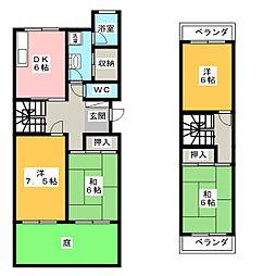 八事本町団地2号棟[1階]の間取り