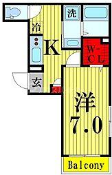 (仮称)竹の塚1丁目メゾン 2階1Kの間取り