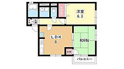 大阪府豊中市桜の町5丁目の賃貸アパートの間取り