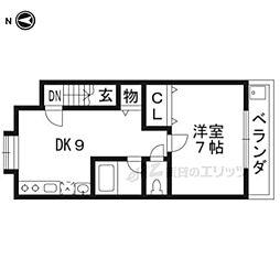 近鉄京都線 十条駅 徒歩3分の賃貸アパート 3階1DKの間取り