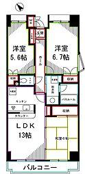 ラフィネ武蔵野[1階]の間取り