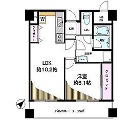渋谷スカイレジテル 6階1LDKの間取り