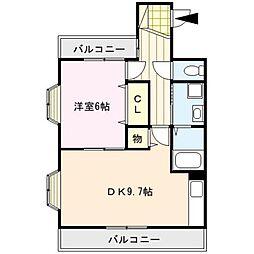 リバティヒルズII[6階]の間取り