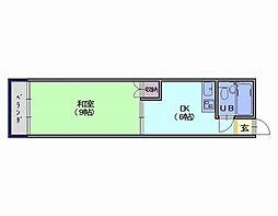 中大路ビル 5階1DKの間取り