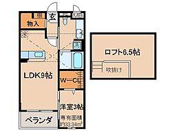 京都府城陽市富野南清水の賃貸アパートの間取り